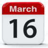 Calendar web button - The Sixteenth of March, three-dimensional rendering, 3D illustration
